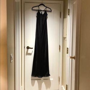 Black satin look floor length gown